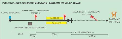 peta tulip jalur alternatif curug sindulang - basecamp kw via kp. cikaso